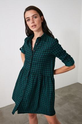 TRENDYOLMİLLA Petrol Gömlek Elbise TWOAW21EL2090 1