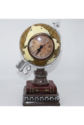Sarı Büyük Boy Dünya Küre Masa Saati Mudo Dekoratif Biblo 13x27 HDY104