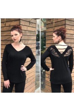 Kadın Siyah Melek Kanatlı Bluz KN-975