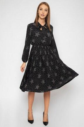 1DEN2YE Kadın Siyah Yakası Bağcılı Elbise 0