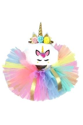 Kız Çocuk Renkli Unicorn Doğum Günü Tütü Etek 3lü Set NEON15-2