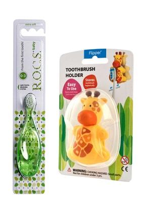 R.O.C.S. Zürafa Figürlü Baby 0-3 Yaş Diş Fırçası Ve Flipper Hijyenik Saklama Kabı Seti 3