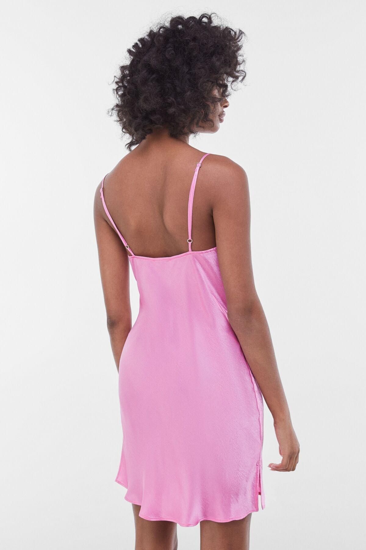 Bershka Kadın Fuşya Saten Mini Slip Elbise 00581168 1