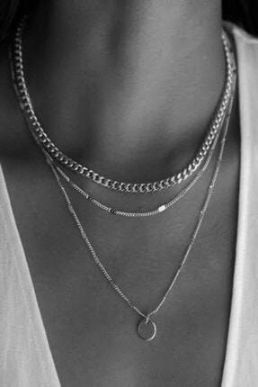 X-Lady Accessories Kadın Katlı Zincir Kolye Pullu Gümüş Renk 1