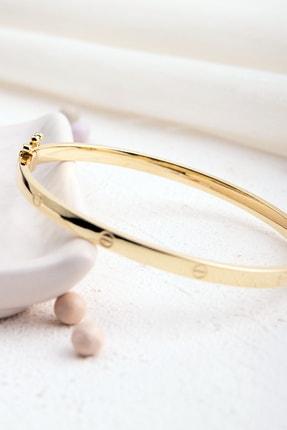 Rachel Silver Cartıer Elişi Üretim Vidalı Model Gold Renk Kelepçe Gümüş Bilezik 2