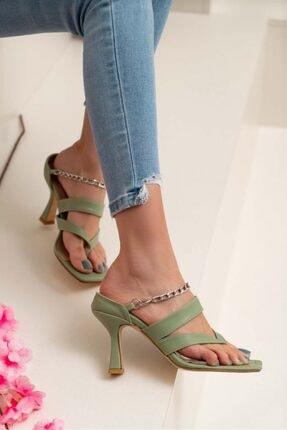 NİŞANTAŞI SHOES Kadın Gillian Yeşil Mat Parmak Arası Bilek Bağlı Topuklu Ayakkabı 1