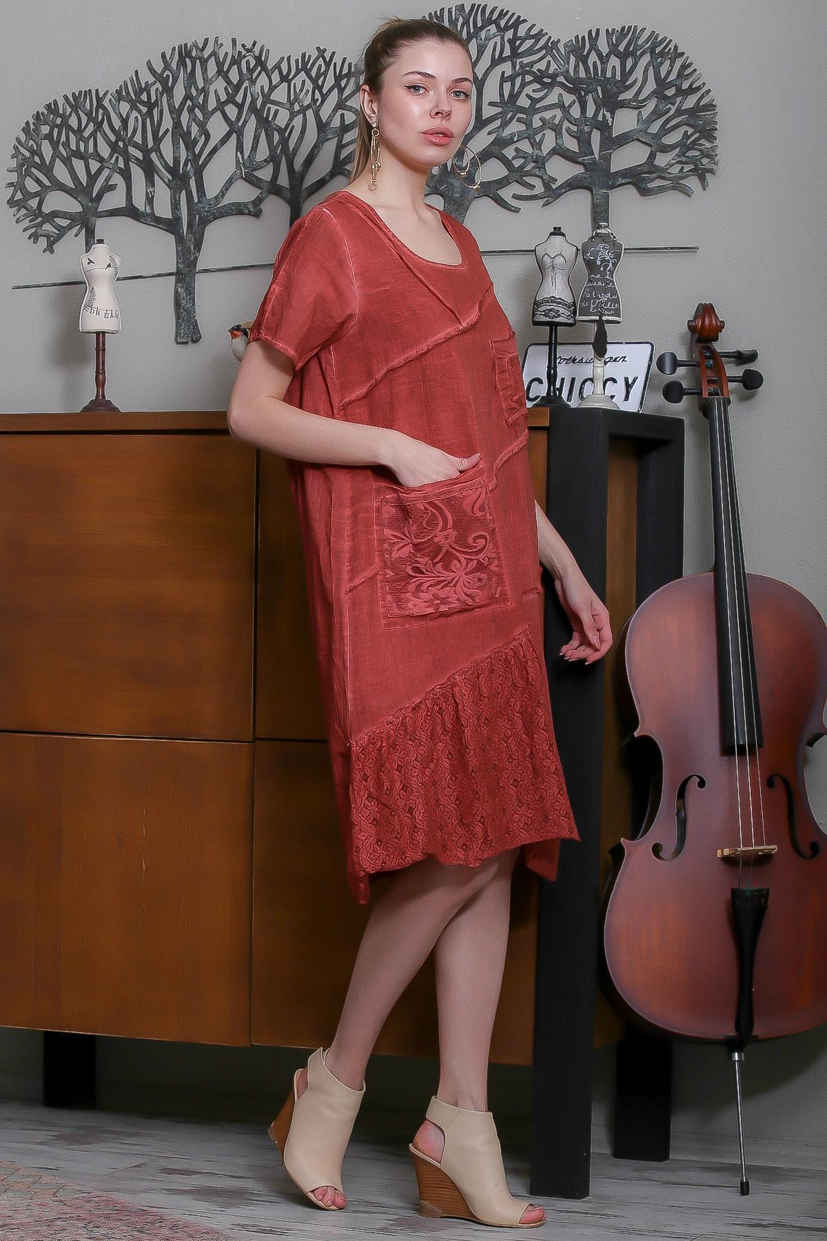 Chiccy Kadın Kiremit Sıfır Yaka Dantel Bloklu Cepli Astarlı Yıkamalı Elbise M10160000EL95294 3