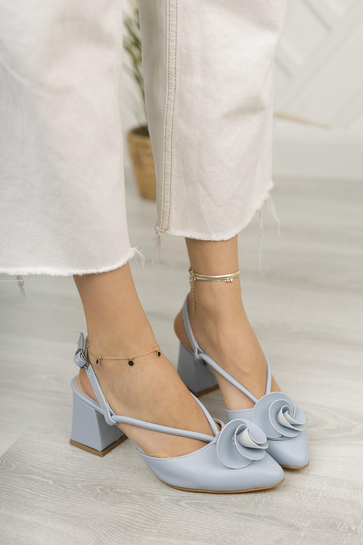 Kadın Bebe Mavi Cilt Kadın Gül Fiyonklu Topuklu Ayakkabı