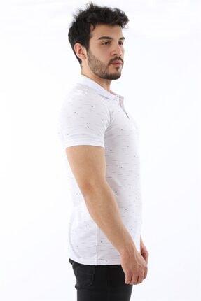 Arlin Erkek Polo Yaka Düğmeli Çizgi Yaprak Desenli Slim Fit Beyaz T-shirt 1