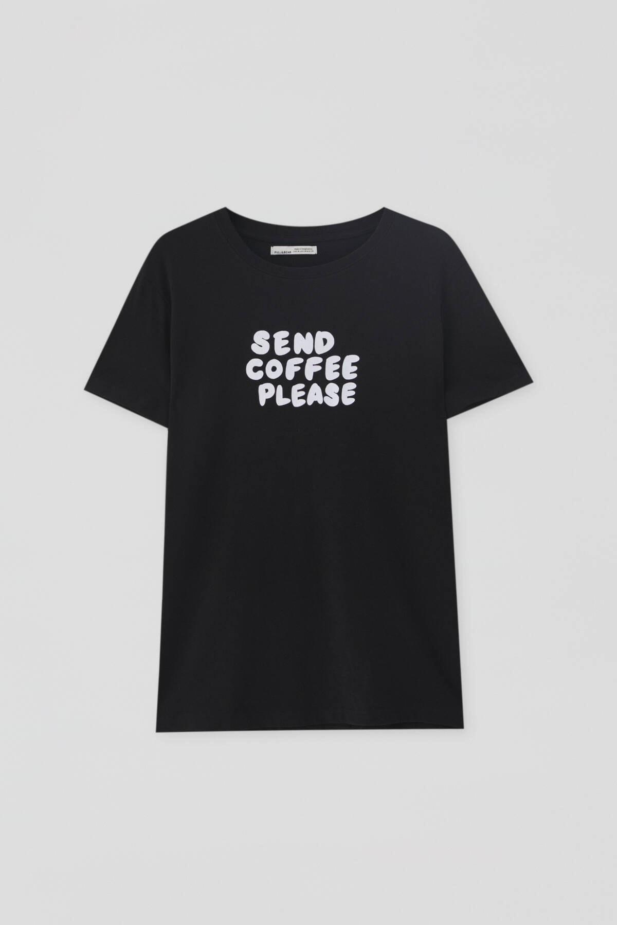 Pull & Bear Kadın Kontrast Sloganlı Siyah T-Shirt - %100 Organik Pamuklu 04240310 4