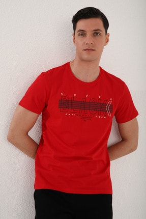 Tommy Life Erkek Kırmızı Black Yazı Baskılı Rahat Kalıp O Yaka T-shirt - 87954 4