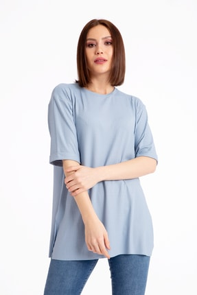 GİYSA Boyfriend Kaşkorse Mavi T-shirt 3683 0