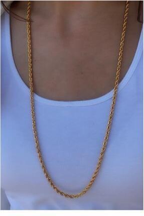 Serpil Jewellery Kadın Altın Sarısı Kalın  Uzun Çelik Burgu Zincir 0