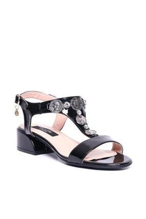 Kuum Kz1613-1 Siyah Kadın Deri Sandalet 100387812 3