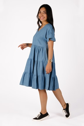 Diz Altı Mavi Kot Elbise MDSBTK4163006
