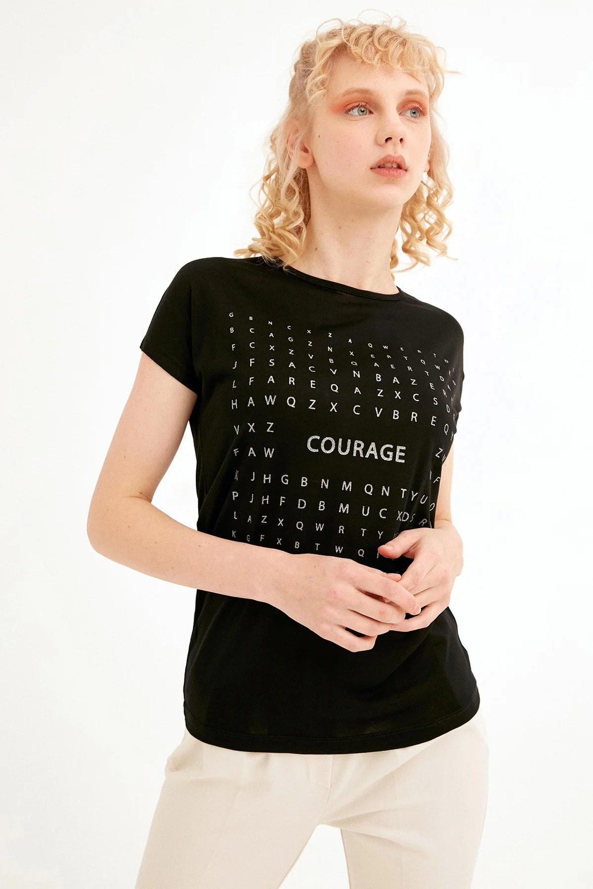 Simli Courage Baskılı Tişört