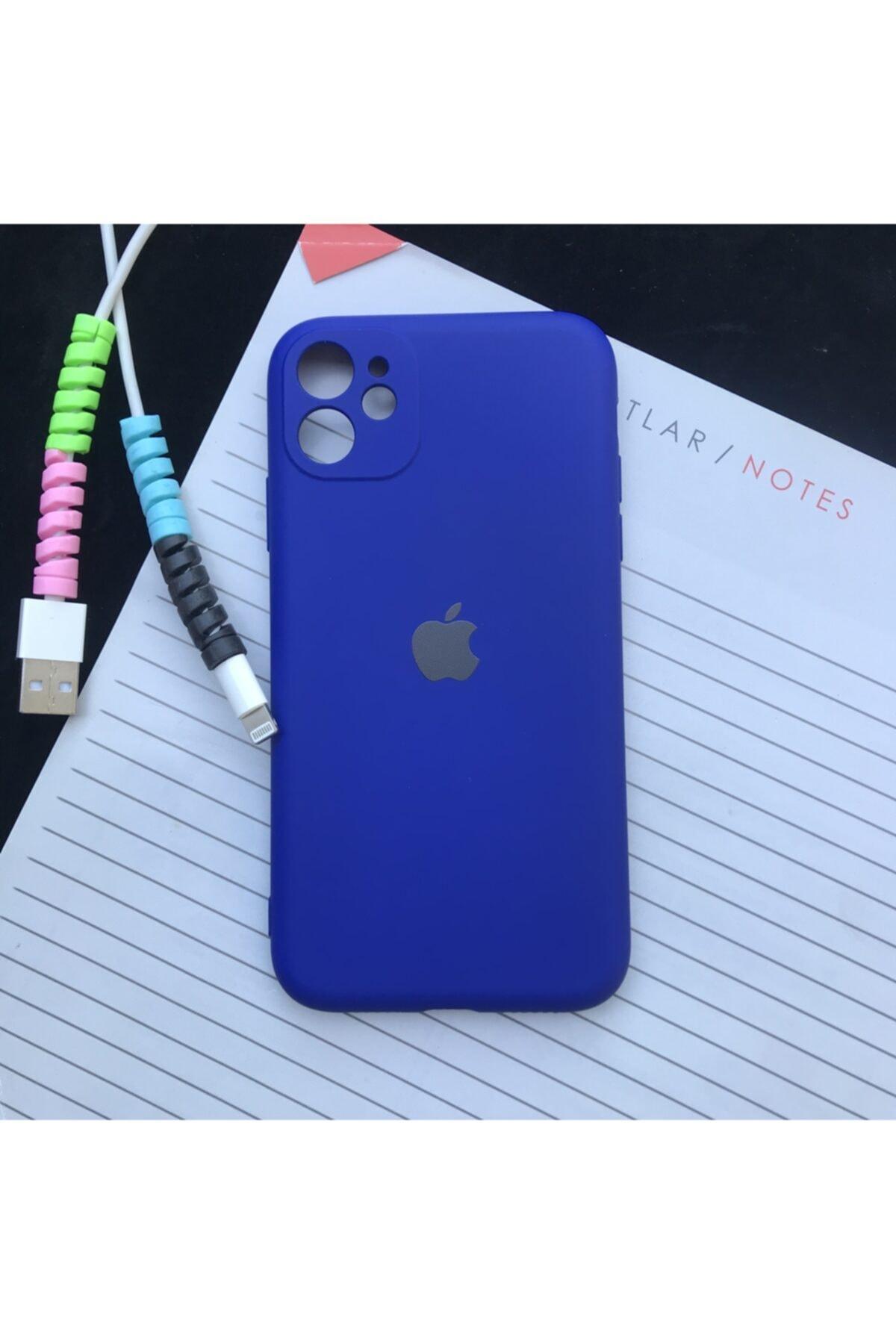 Iphone 11 Kamera Korumalı Model, Logolu Lansman Kılıf Ve Kablo Koruyucu Makaron
