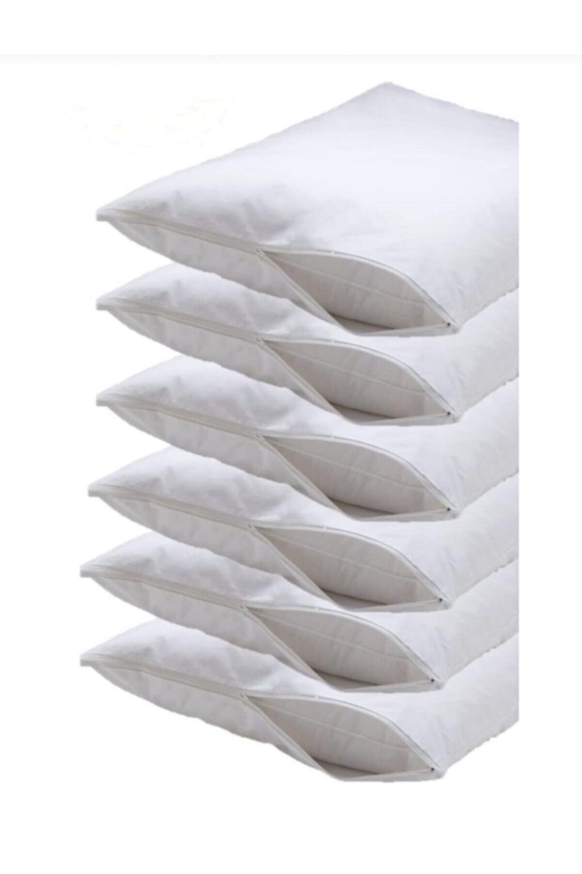 50x70 %100 Pamuklu Yastık Içi Koruyucu Kılıf Fermuarlı Beyaz 6 Adet