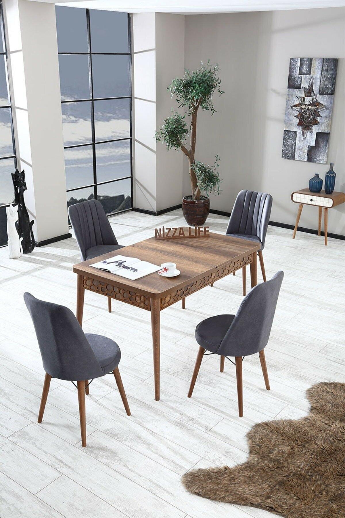 Nossa Mini Barok Ceviz Yemek Masası Mutfak Masası Açılır Masa Takımı 4 Sandanyeli - Antrasit