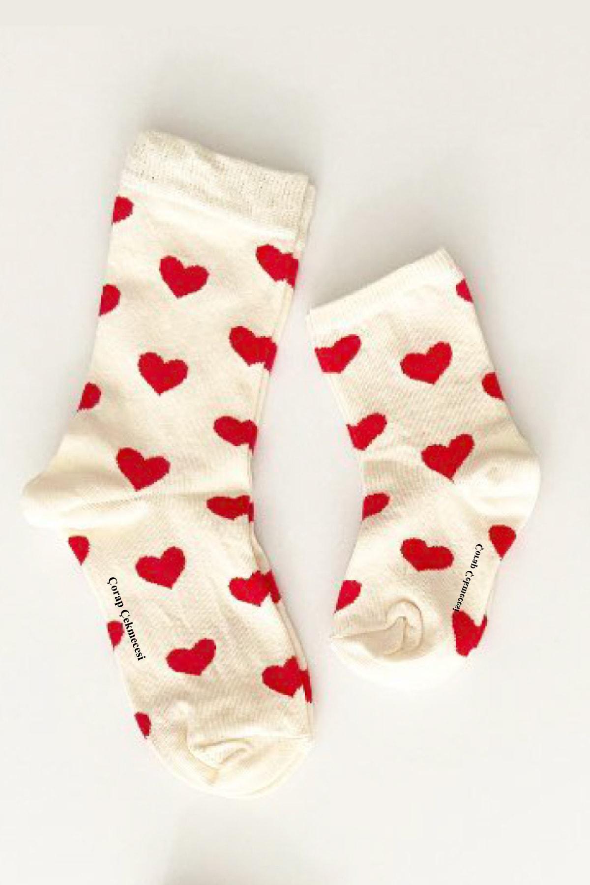 Anne Bebek Çorap Kombini Kalp Ekru-kırmızı