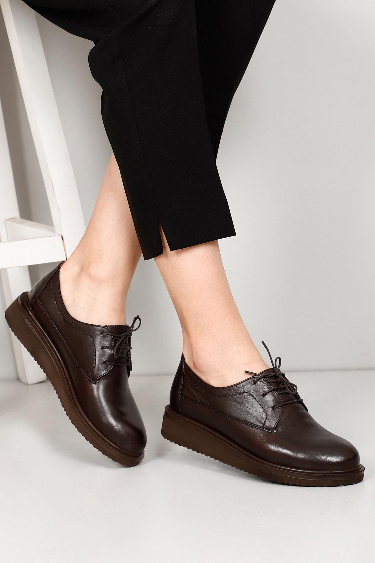 Hakiki Deri Kahve Antik Kadın Günlük (Casual) Ayakkabı 24074