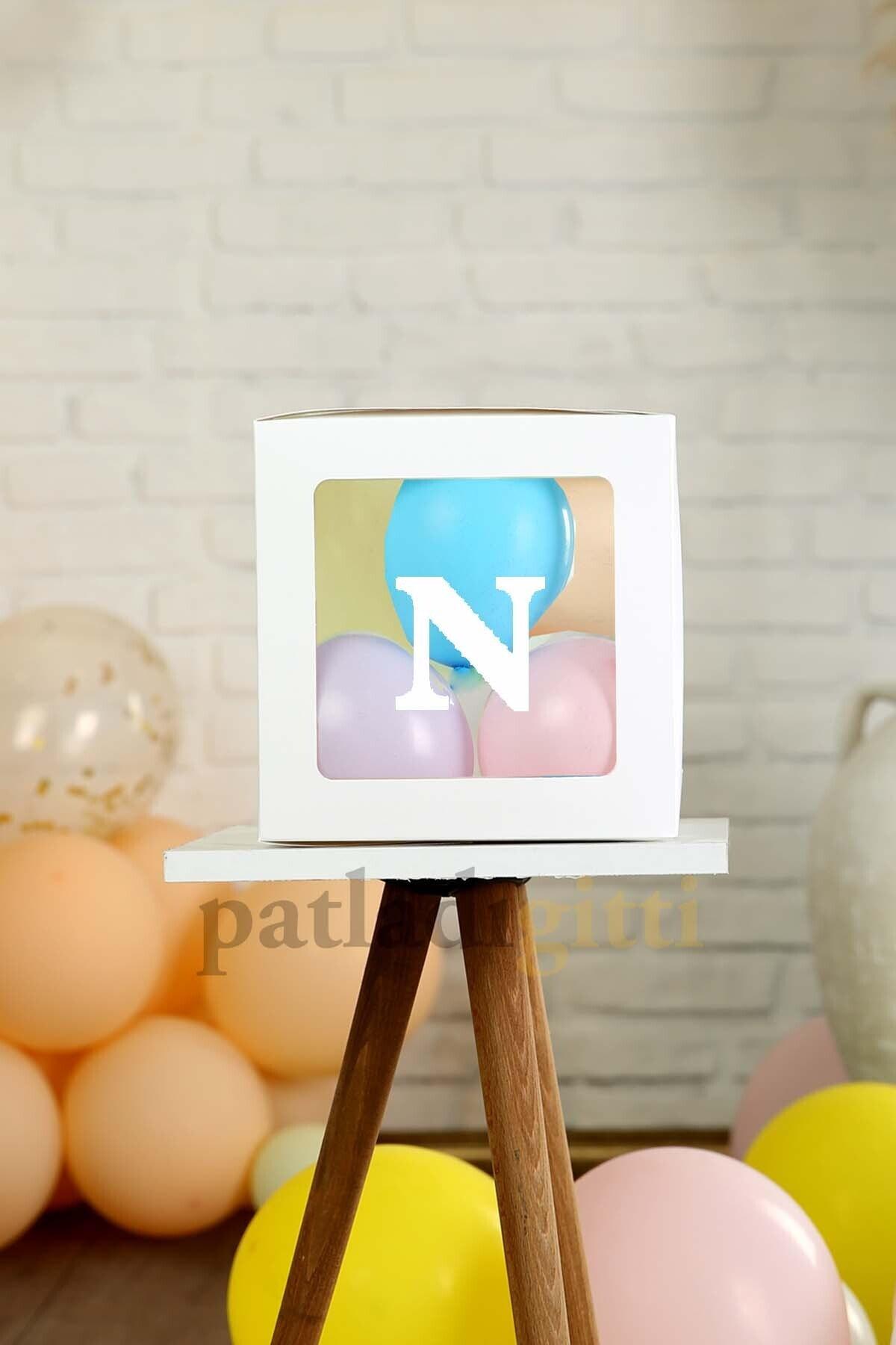 Şeffaf N Harfli Beyaz Kutu Ve Balon Seti Kendin Yap Bebek Çocuk Doğum Günü Süsleme