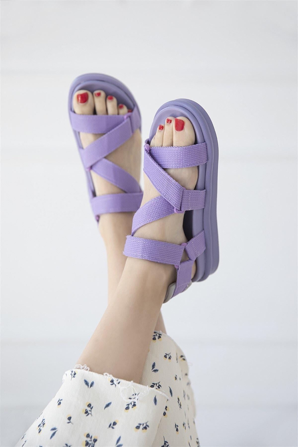 Kadın Lila Cırt Detay Günlük Sandalet