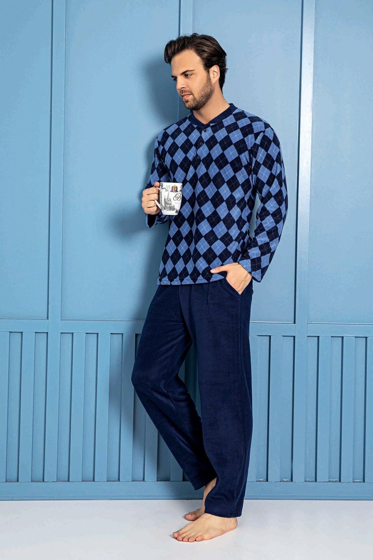 Homewear Plr-p-02 Erkek Lacivert Polar Pijama Takımı