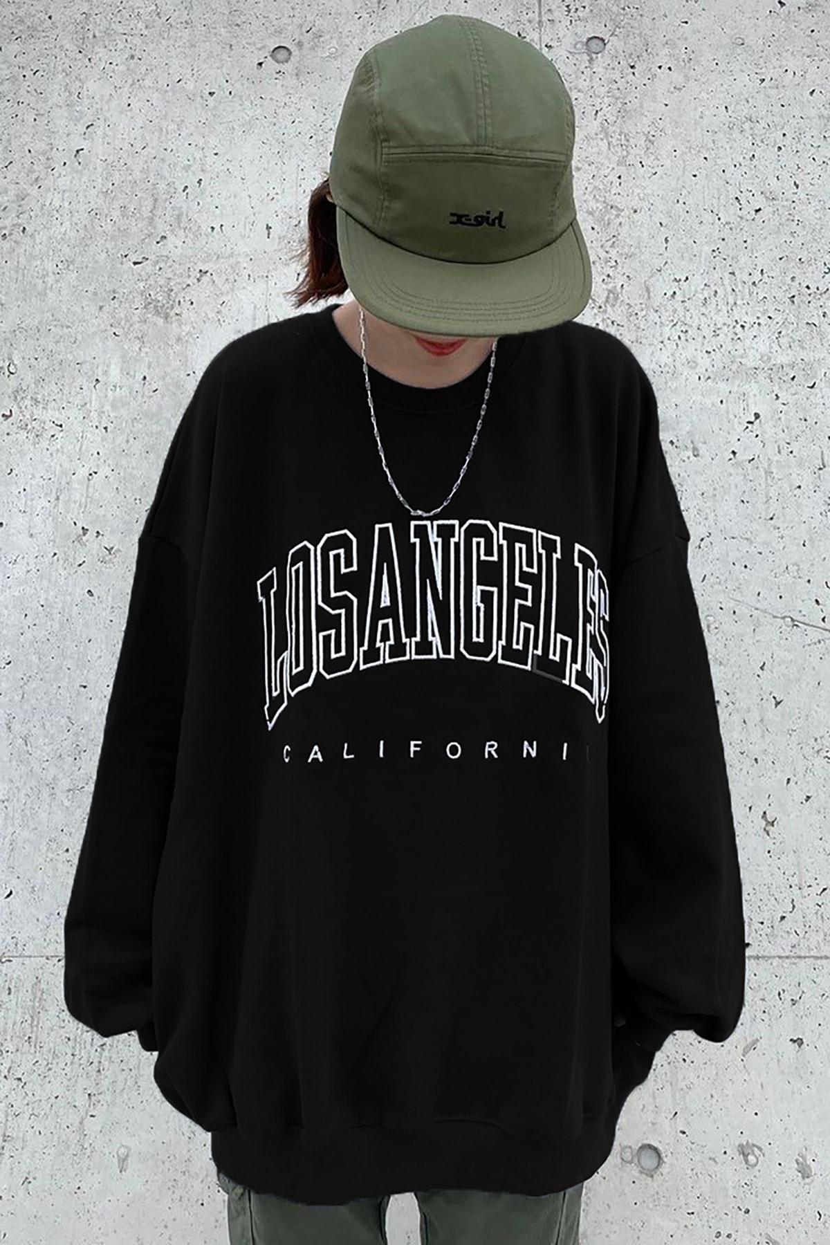Mad Girls Siyah Baskılı Oversize Kadın Sweatshirt Mg780