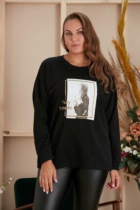 تصویر از Baskılı Büyük Beden Siyah Sweatshirt