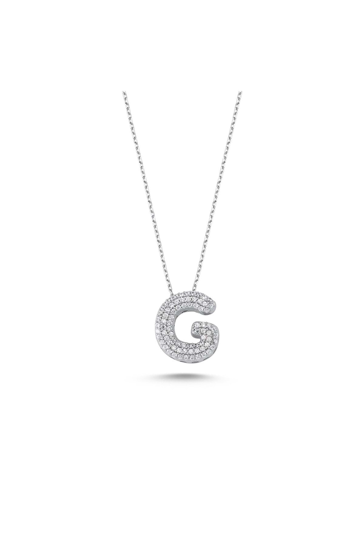 925 Ayar Gümüş Taşlı Harfli Kolye- G Harfi - Standart - Ada002-1756