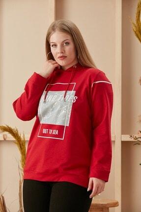 تصویر از Baskılı Ve Fermuarlı Büyük Beden Kırmızı Sweatshirt