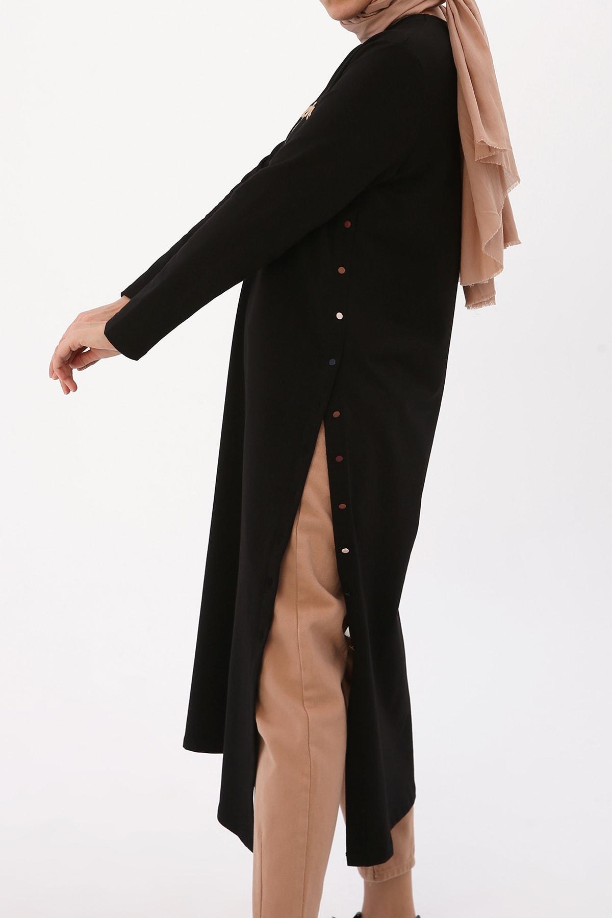 Kadın Siyah Nakışlı Düğmeli Elbise Tunik