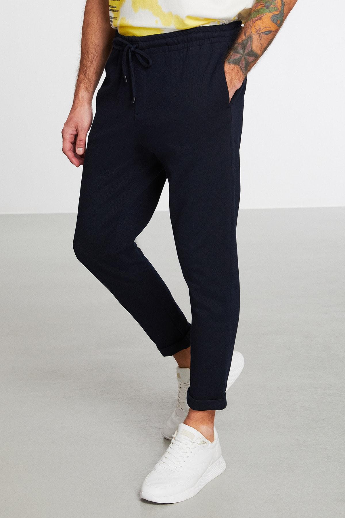 Unblended Erkek Lacivert Düz Renk Pantolon