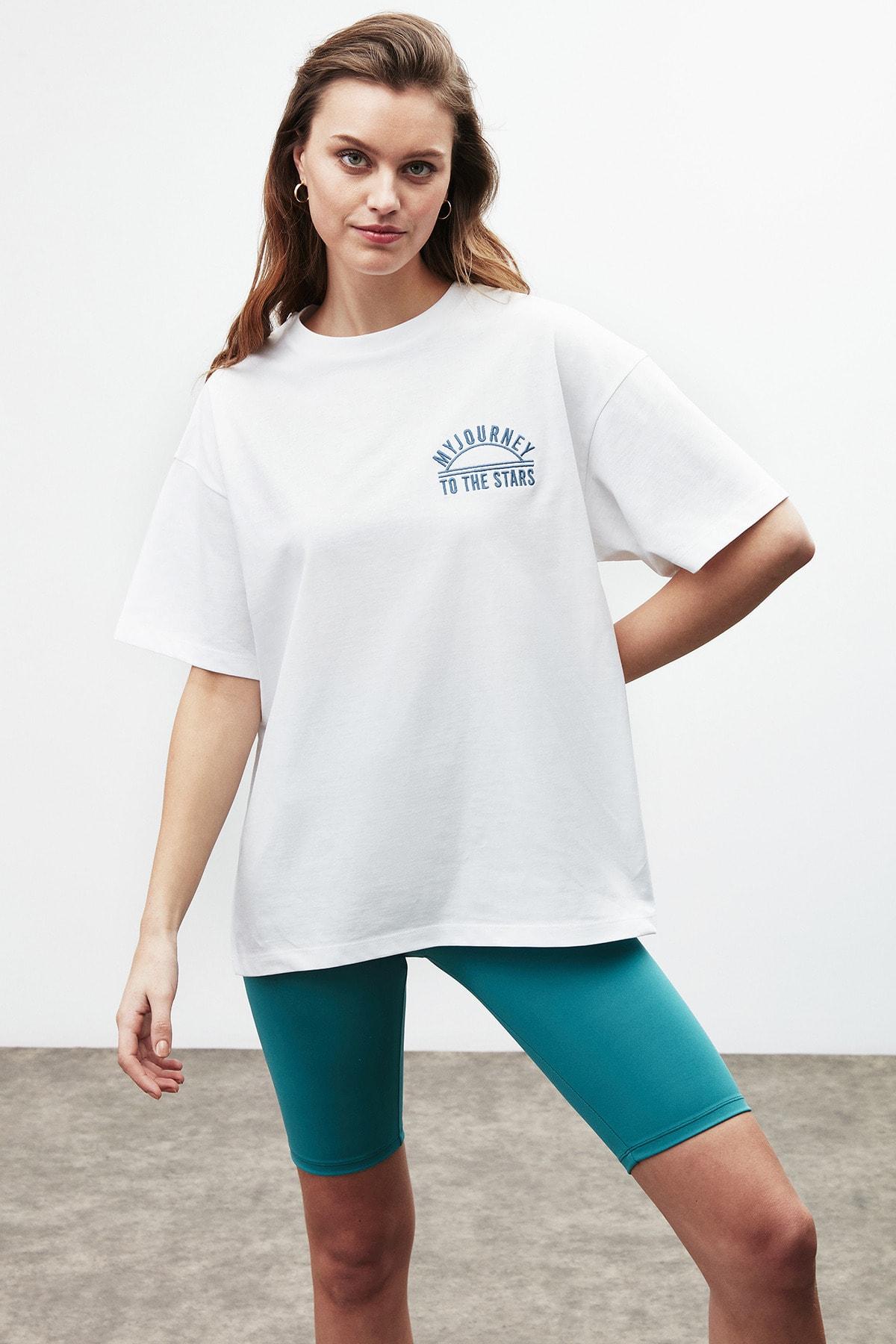 Rosa Kadın Beyaz Nakışlı / Işlemeli Bisiklet Yaka T-shirt