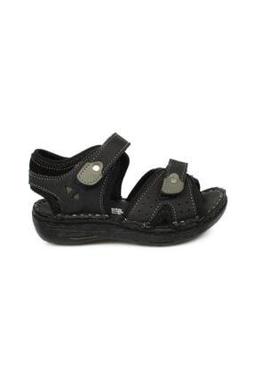 Toddler P Çift Cırt Siyah Çocuk Sandalet 1