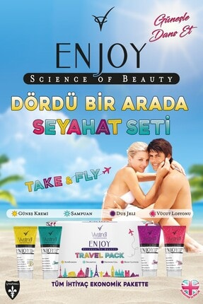 Enjoy Travel Pack Spf 50+ Güneş Kremi & Şampuan & Duş Jeli & Vücut Losyonu 4 x 100 ml 5060409581925 1