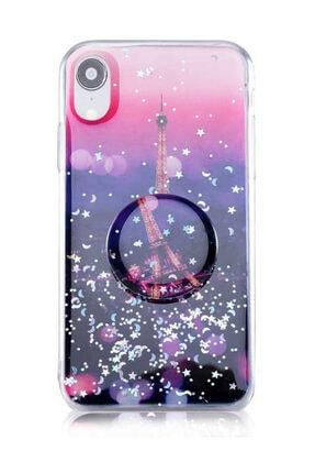 Dijimedia Teknomarketim Iphone Xr Kılıf  Pop Soketli Yüzüklü Standlı Silikon Baskılı Paris Desenli Gece Mavi 0