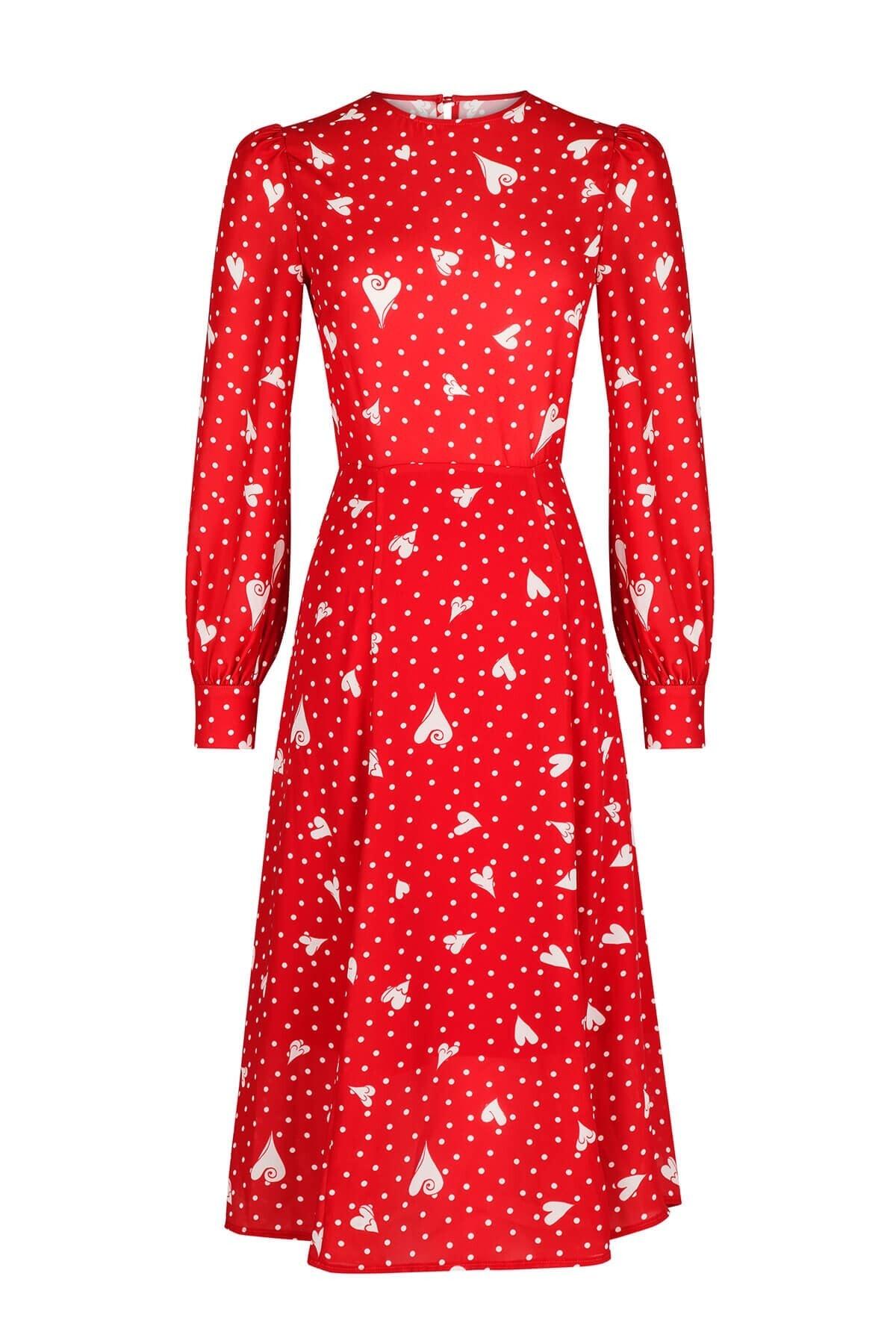 The Latest Thing Gıselle Kalp Desenli Sırtı Açık Elbise 2745952 2