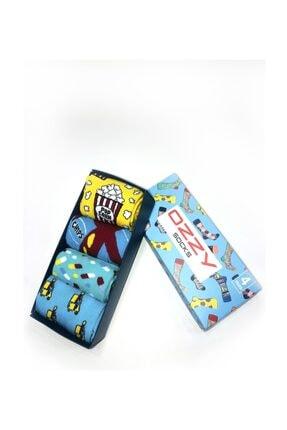 Ozzy Socks 4 Lü Eğlenceli Desenler Erkek Hediye Paketi 0