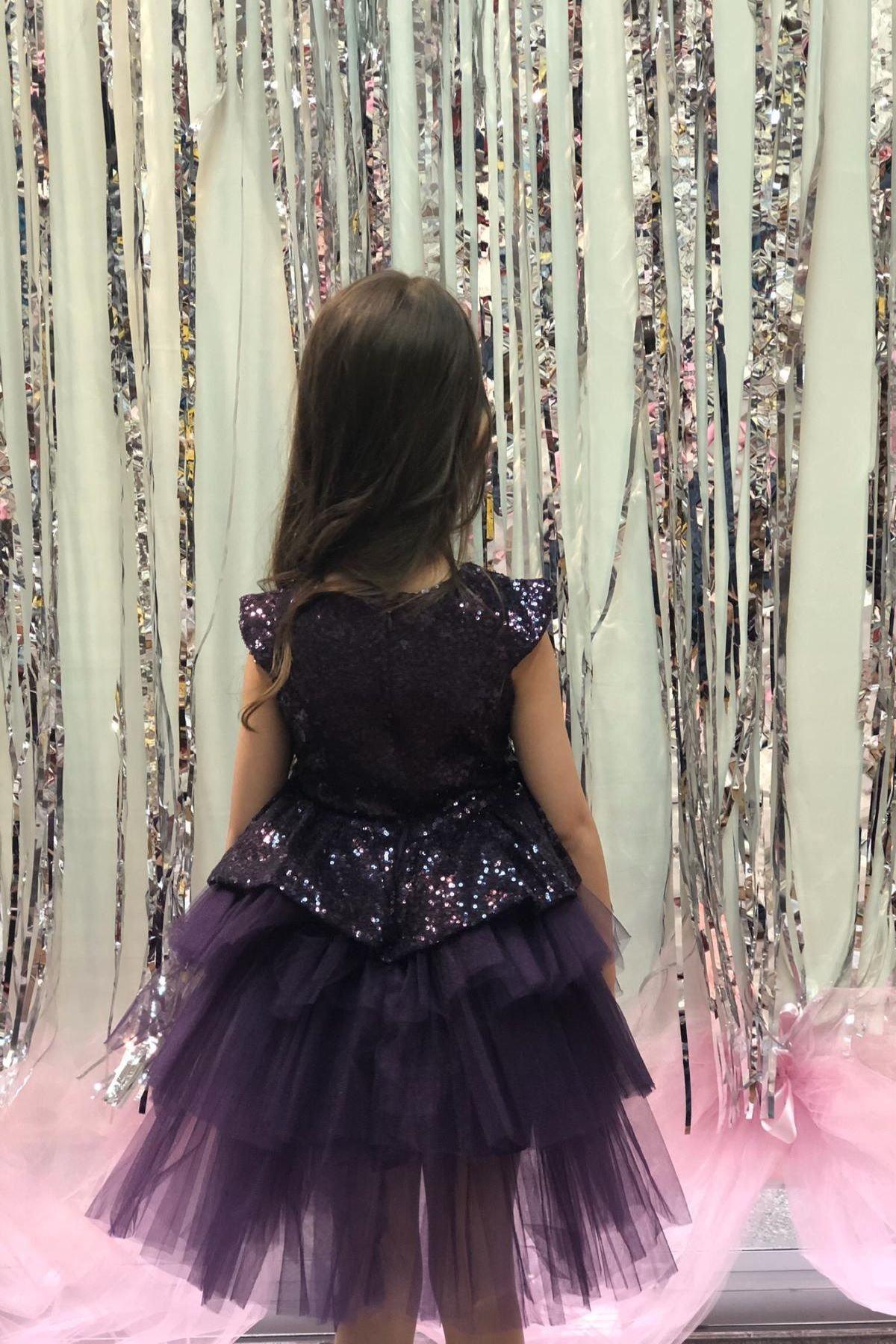 Buse&Eylül Bebe Mürdüm Pullu Tütü Elbise 2