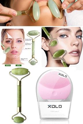 Xolo Şarj Edilebilir Pembe Yüz Temizleme Cihazı + Jade Roller 2'li Yeşim Taşı Masaj Aleti 0