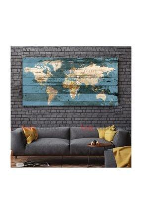 TekTablo Eskitme Ahşap Görünümlü Dünya Haritası Kanvas Tablo 0