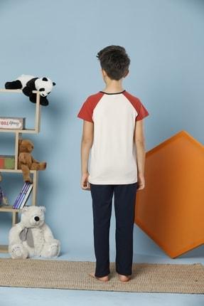 Siyah İnci Erkek Çocuk Ekru Kısa Kollu Pamuklu Likralı Pijama Takım 1