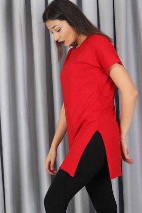 AlpinTeks Kadın Kırmızı Yırtmaçlı Bisiklet Yaka T-shirt 1