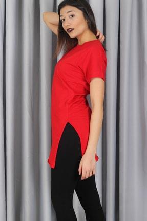 AlpinTeks Kadın Kırmızı Yırtmaçlı Bisiklet Yaka T-shirt 2