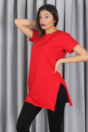 AlpinTeks Kadın Kırmızı Yırtmaçlı Bisiklet Yaka T-shirt 4