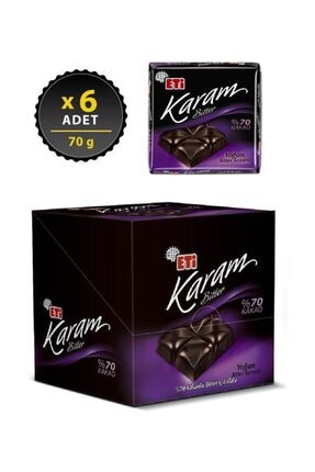 Eti Karam %70 Kakaolu Bitter Çikolata 70 g x 6 Adet 1