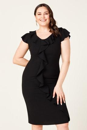 MI Kadın Siyah Lazer Kesim Volanlı Aykol Elbise 20Y.MI.ELB.71027.01 0