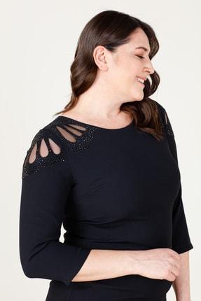 MI Kadın Siyah Laser Kesim Elbise 20Y.MI.ELB.71034.01 1